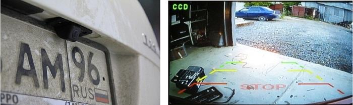 Камера заднего хода устанавливается на место плафона подсветки номера