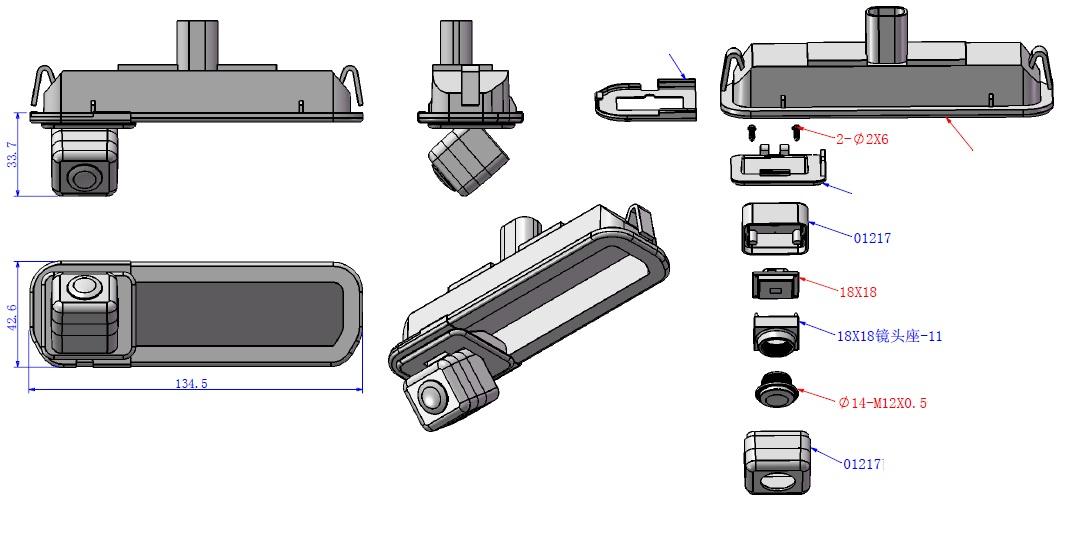 установка и размеры камеры заднего вида для Форд Фокус 3