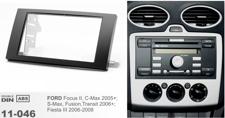 Рамка переходная 2din Ford Focus Focus II, C-Max 2005+; S-Max, Fusion, Transit 2006+; Fiesta III 2006-2008